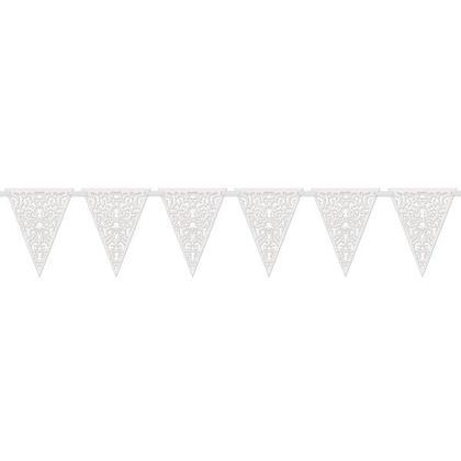 Dentelle découpée bannière drapeau en papier pour décor de fête, blanc, 12 pieds