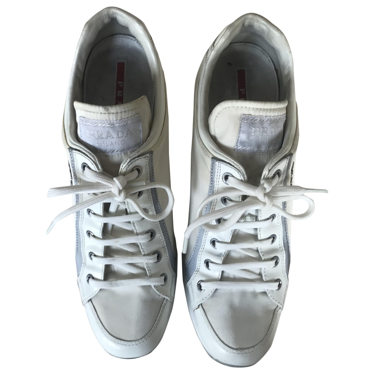 Prada \N White Leather Heels for Women 37.5 EU