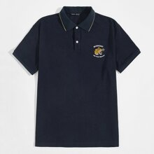 Polo Shirt mit Buchstaben & Tiger Stickereien und Knopfen vorn