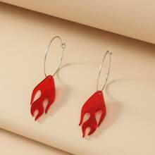 Flame Charm Drop Earrings