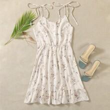 Knot Straps Ruffle Hem Ditsy Floral Cami Dress