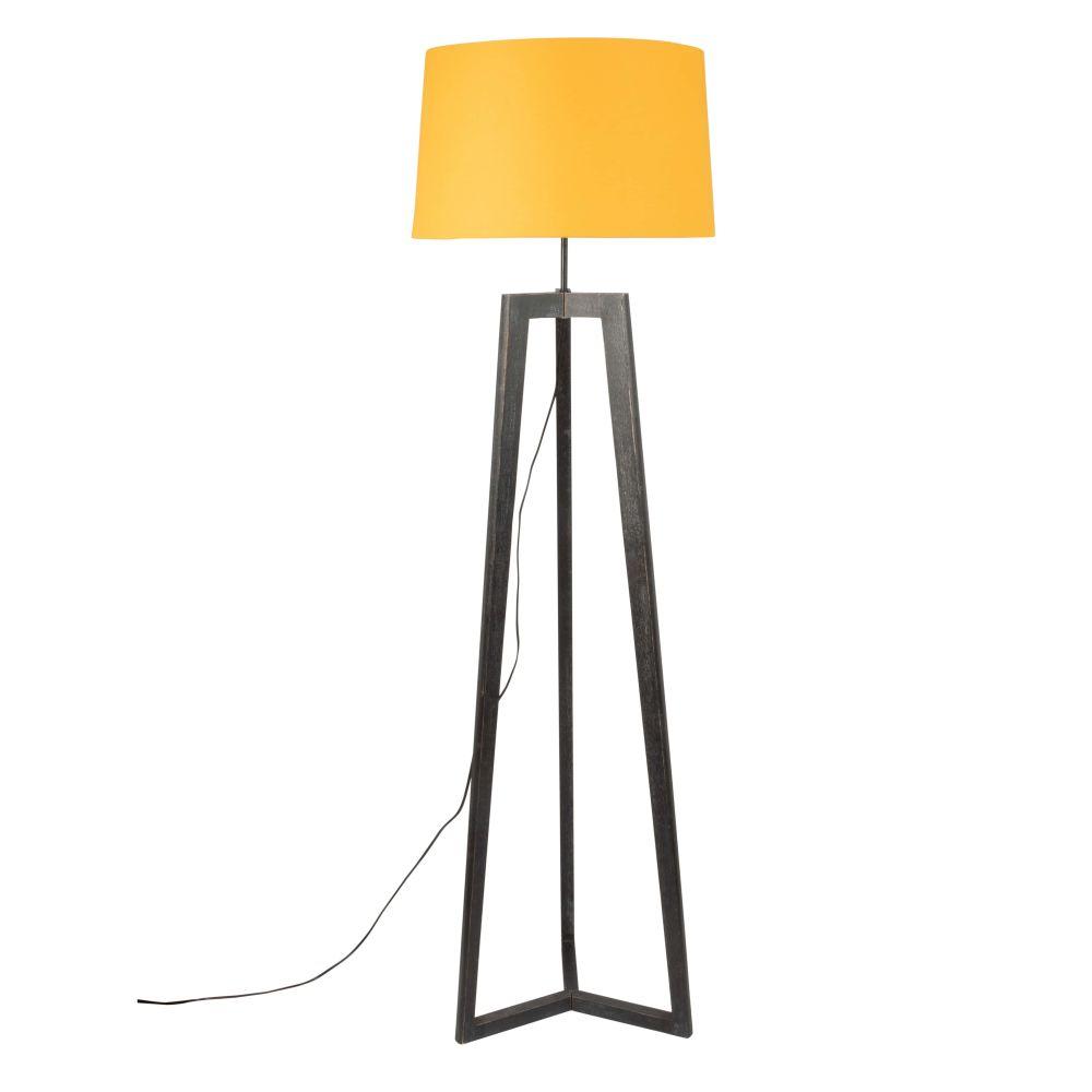 Dreifuss-Stehlampe aus Terminaliaholz mit senfgelbem Lampenschirm H163