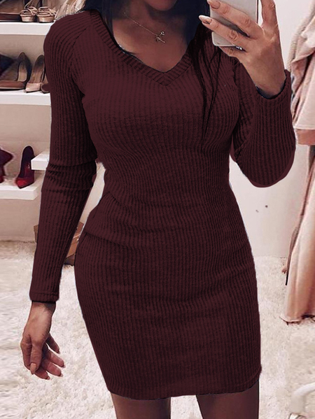 Yoins Knit V-neck Long sleeves Mini Dress