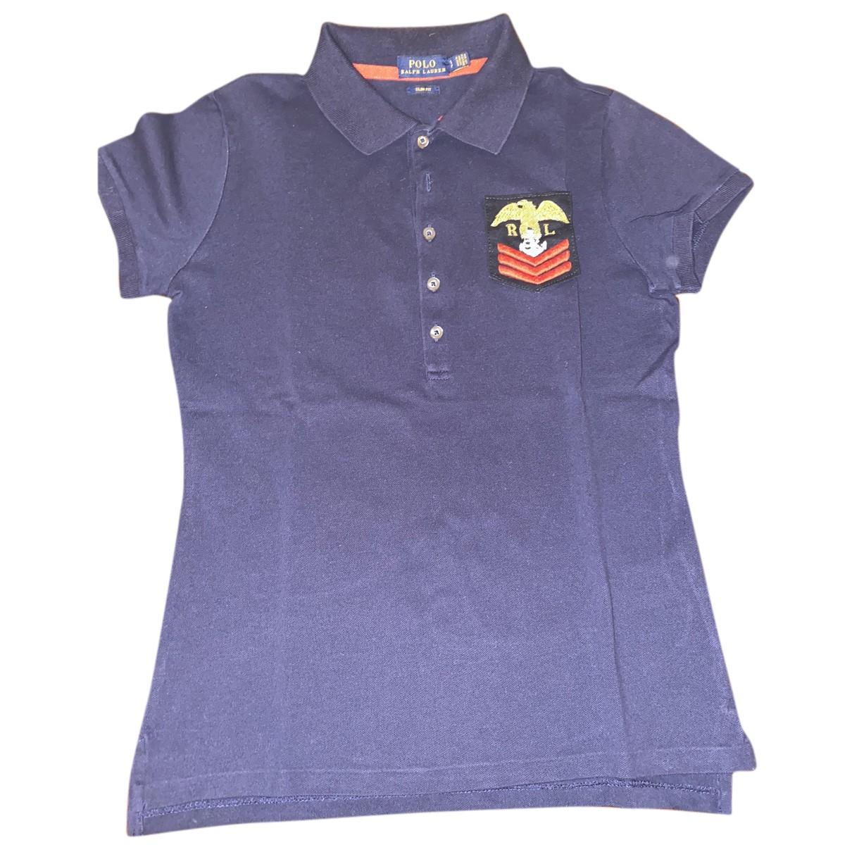 Polo Ralph Lauren - Top Polo cintre manches courtes pour femme en coton - bleu