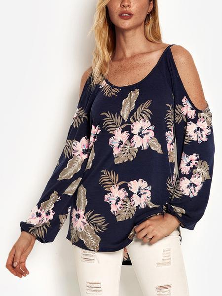 Yoins Navy Random Floral Print Cold Shoulder Long Sleeves T-shirt