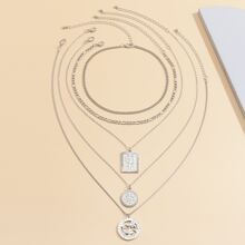 5pcs Butterfly Engraved Charm Necklace