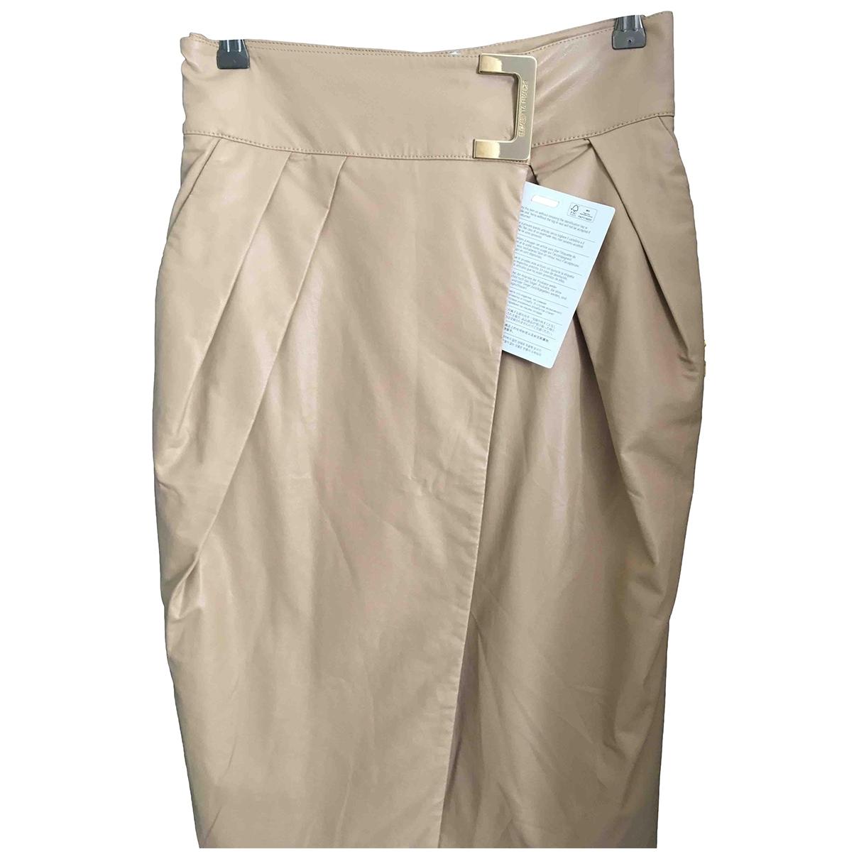 Elisabetta Franchi \N Beige Leather skirt for Women 42 IT