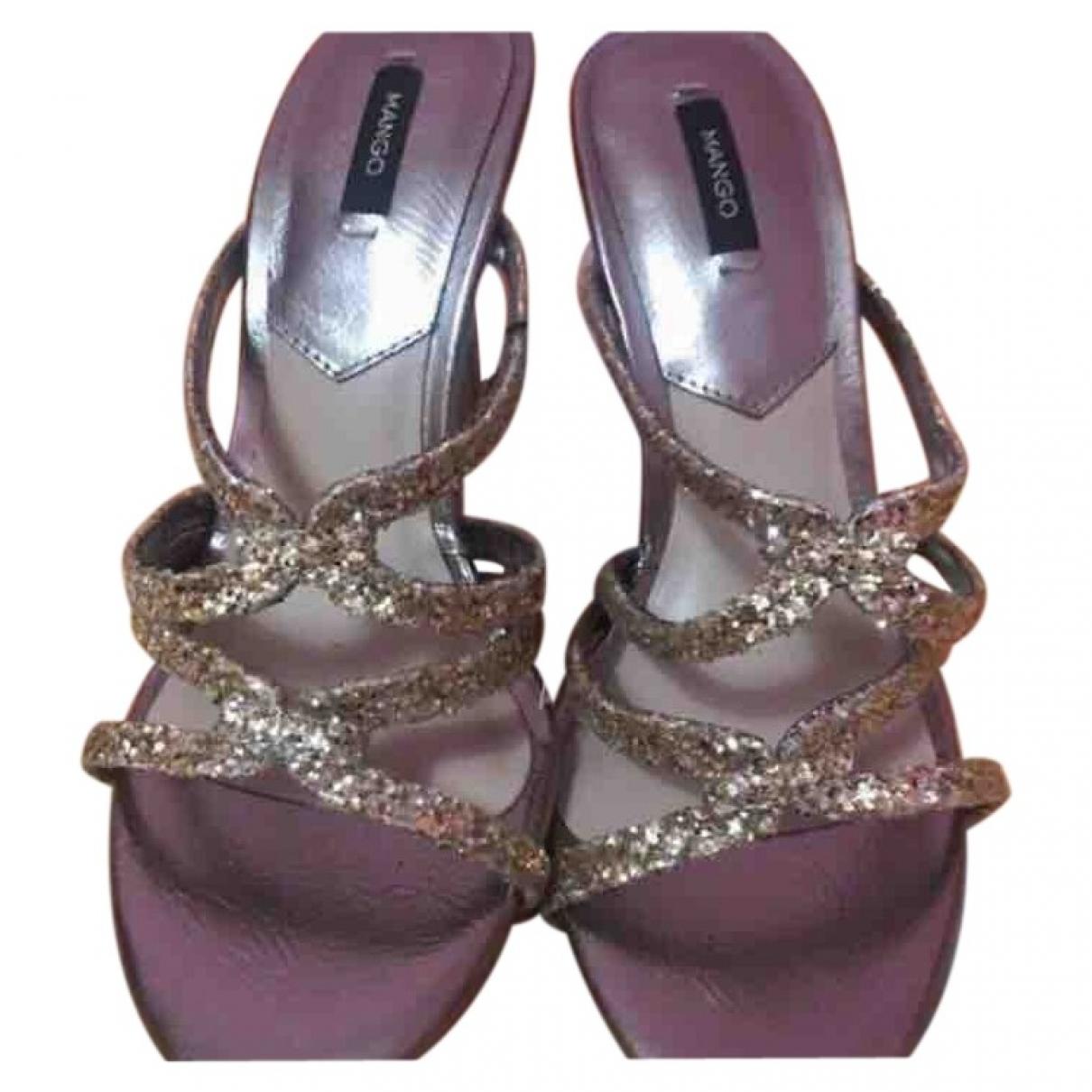 Mango \N Gold Glitter Sandals for Women 36 EU