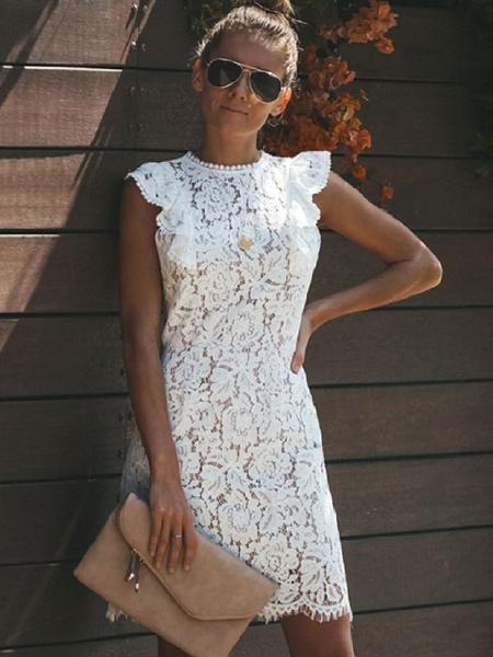 Milanoo White Dress Lace Crochet Sleeveless Bodycon Dress Women Crewneck Ruffled Party Dress