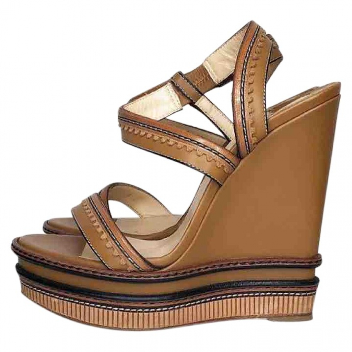 Christian Louboutin \N Brown Leather Sandals for Women 39 EU