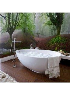 Red Grassland and Green Tree Pattern Waterproof 3D Bathroom Wall Murals
