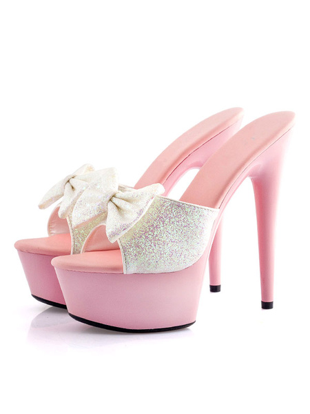 Milanoo Sexy High Heels Womens White Open Toe Sequins Stiletto Bows PU Summer Mules