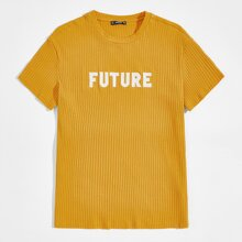 Men Letter Embroidered Rib-knit Tee