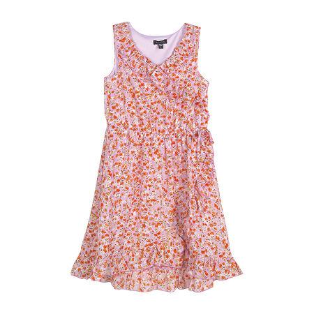 Zunie Little & Big Girls Sleeveless Wrap Dress, 16 , Purple