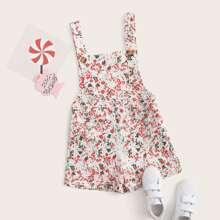 Girls Crisscross Back Rolled Hem Ditsy Floral Overall Shorts