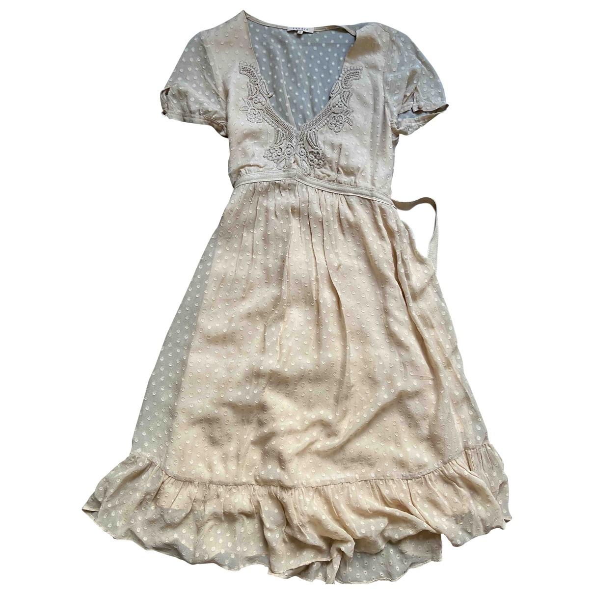 Sandro \N Beige Silk dress for Women 2 0-5