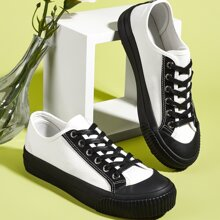 Zapatos de lona con cordon delantero