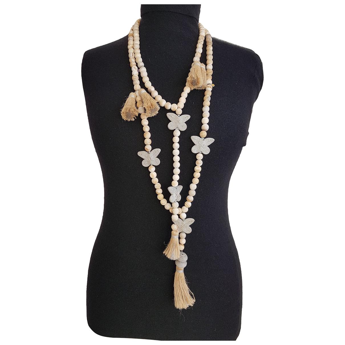 Non Signe / Unsigned \N Halskette in  Beige Perlen