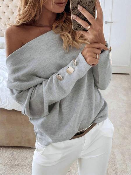 Milanoo Camiseta de manga larga para mujer, gris, cuello barco, hebillas, camisa de poliester para mujer