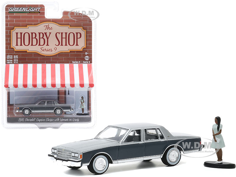 1981 Chevrolet Caprice Classic Light Gray and Dark Gray with Woman in Dress Figurine