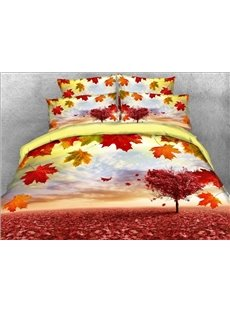 Vivilinen 3D Maple Leaves and Heart-shaped Tree Printed 5-Piece Comforter Sets
