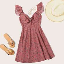 Ditsy Floral Knot Neck Ruffle Trim Dress