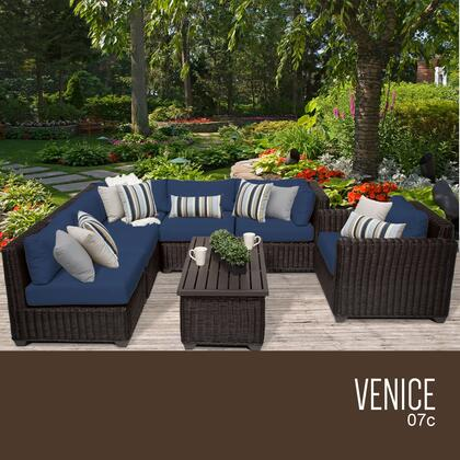 VENICE-07c-NAVY Venice 7 Piece Outdoor Wicker Patio Furniture Set 07c with 2 Covers: Wheat and
