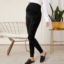 Maternity Pocket Back PU Leather Pants