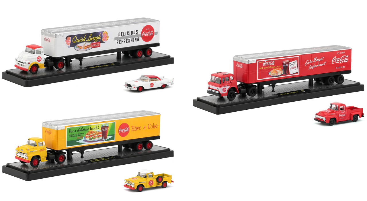 Auto Haulers Coca-Cola Set of 3 Trucks Quick Lunch Release 1/64 Diecast Models by M2 Machines