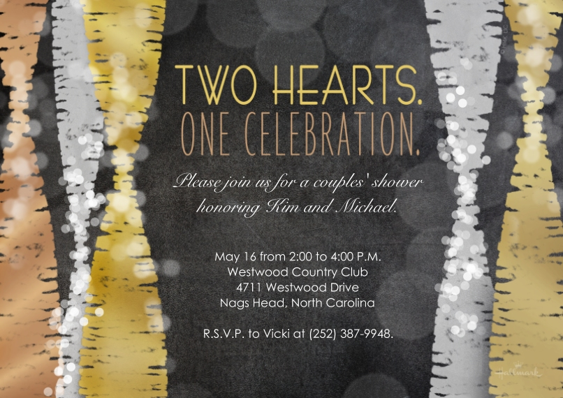 Wedding Shower Invitations 5x7 Cards, Premium Cardstock 120lb with Elegant Corners, Card & Stationery -Two Hearts One Celebration