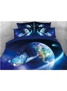 Vivilinen Blue Butterfly Fancy Earth Printed 4-Piece 3D Bedding Sets/Duvet Covers
