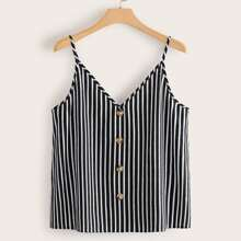 Plus Buttoned Front Striped Cami Top