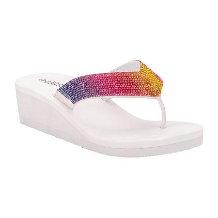 Olivia Miller Womens Flip-Flops, 10 , White
