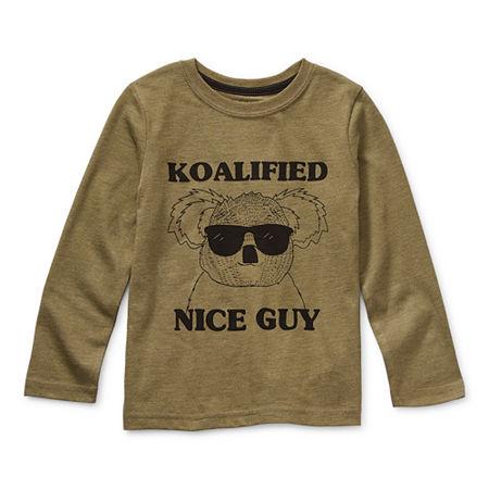 Okie Dokie Little Boys Crew Neck Long Sleeve Graphic T-Shirt, 5 , Green