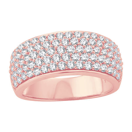 Womens 1 1/2 CT. T.W. Lab Grown White Diamond 10K Rose Gold Cocktail Ring, 7 , No Color Family