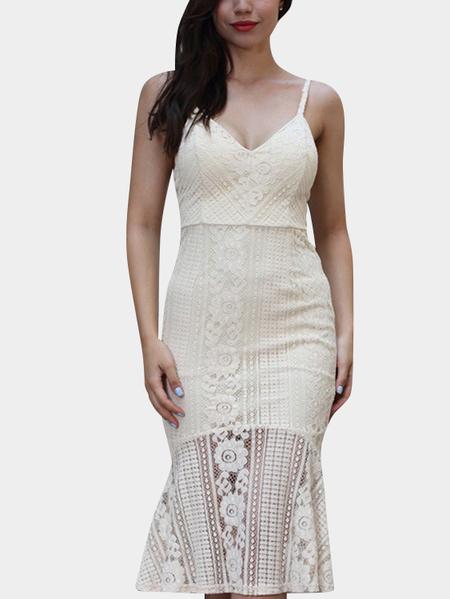 Yoins Beige Spaghetti deep V-neck Open Back Fishtail Lace Dress