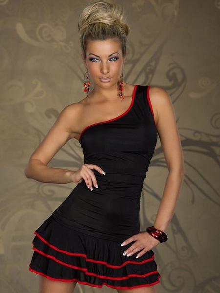 Milanoo Un hombro volantes sin mangas Color Block en capas vestido del Club