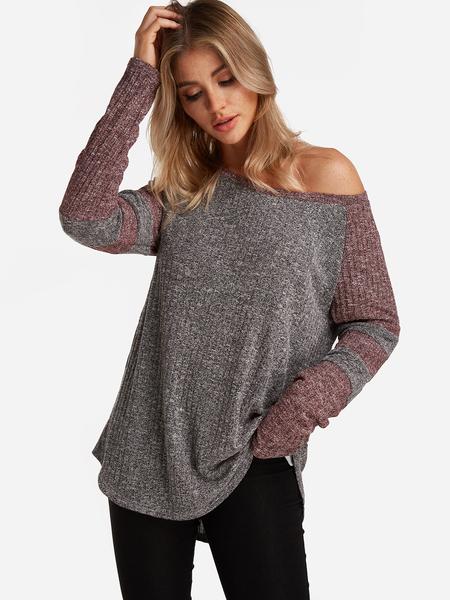 Yoins Grey Knitting Design Stripe Round Neck Long Sleeves T-shirts