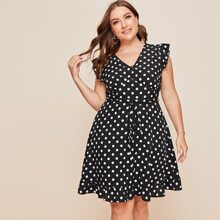 Plus Polka Dot Belted A-line Dress