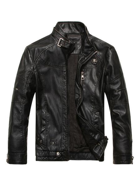 Milanoo Men Leather Jacket Stand Collar Metal Buckle Zipper 2020 Spring Moto Jacket