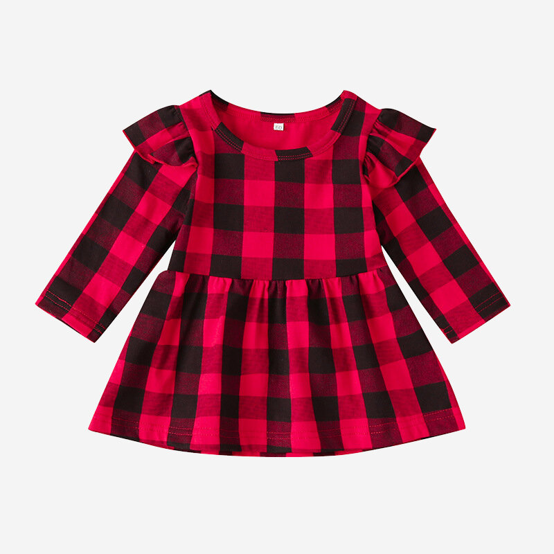 Lattice Print Long Sleeve Casual Dress For 0-24M