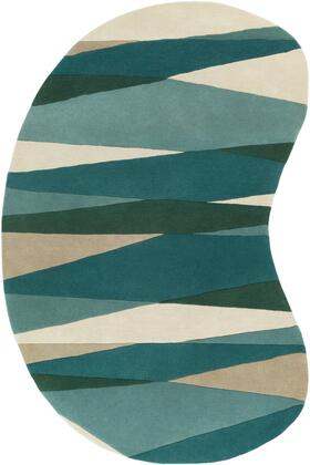 Forum FM-7204 6' x 9' kidney Modern Rug in Sea Foam  Dark Green  Teal  Tan