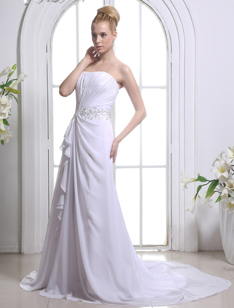 Milanoo White Strapless Chiffon Bridal Wedding Gown