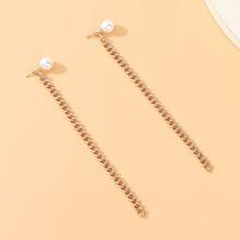 Pendientes con cadena con perla artificial