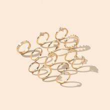 12 Stuecke Ring mit Strass Dekor