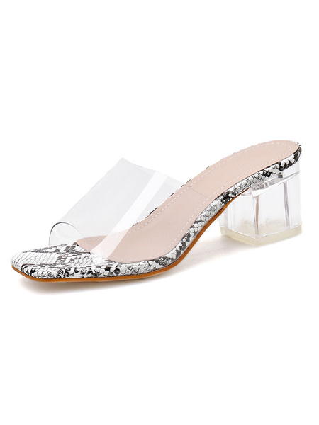 Milanoo Women\s Transparent Clear Sandals Open Toe Square Toe Chunky Heel Summer Shoes