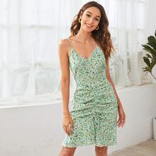 Ruffle Hem Drawstring Ditsy Floral Cami Dress