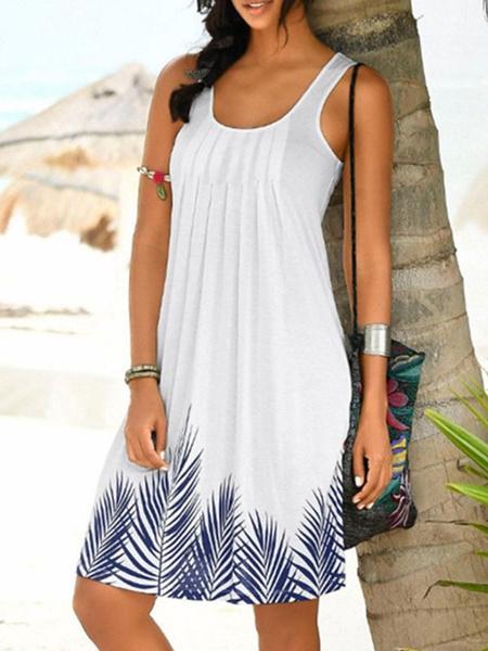 Milanoo Vestido de verano sin mangas con estampado floral Vestido de playa extragrande