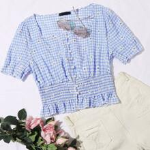Shirred Ruffle Hem Gingham & Floral Top