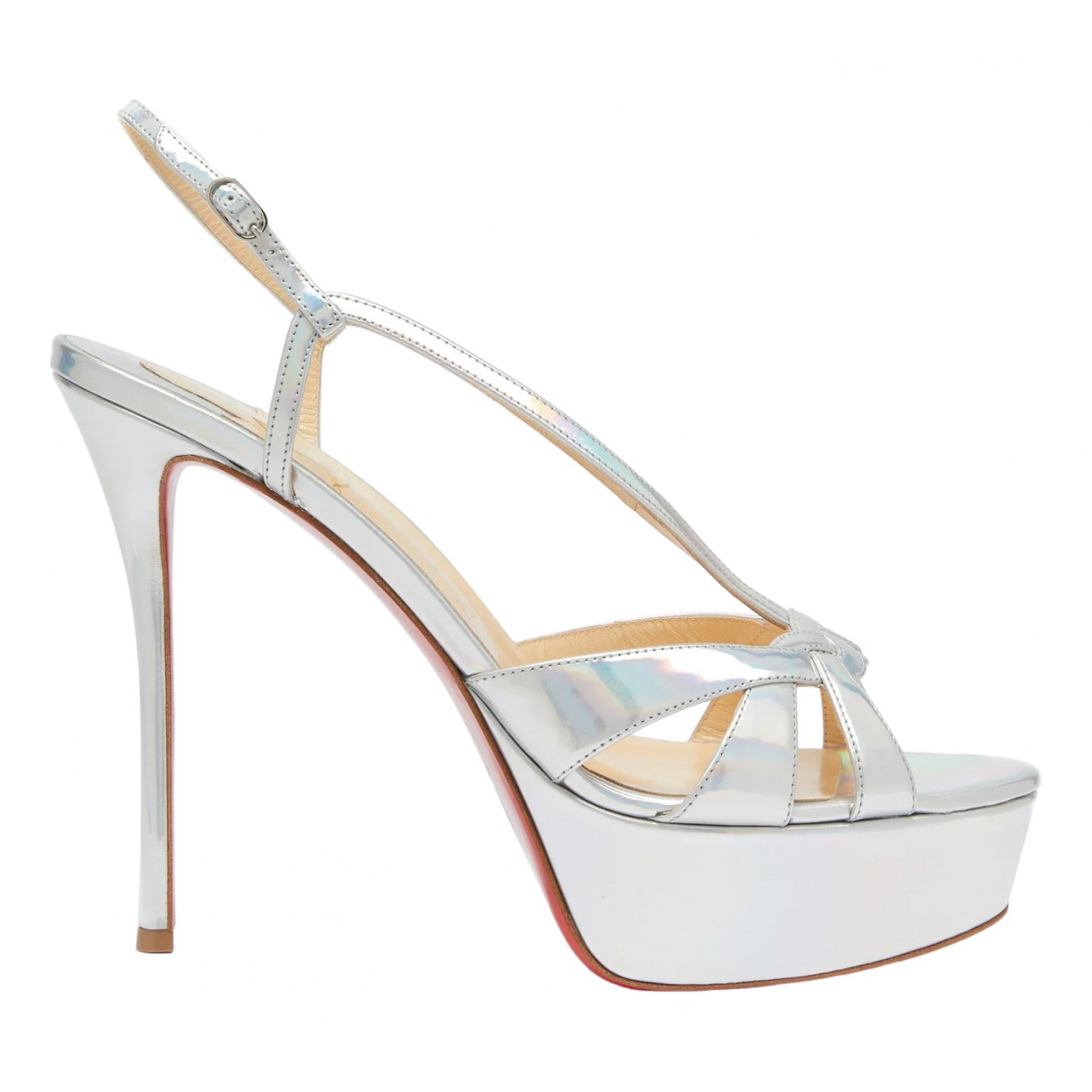 Christian Louboutin \N Silver Patent leather Sandals for Women 38 EU